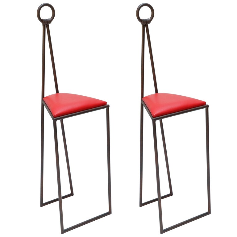 Custom Iron Bar Stools with Red Leather Seats For Sale
