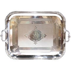 19th Century French Louis XV Silver Plated Tray with Repousse Decor and Stamped