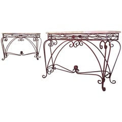 Pair of Forged Iron Console Tables with Marble Tops