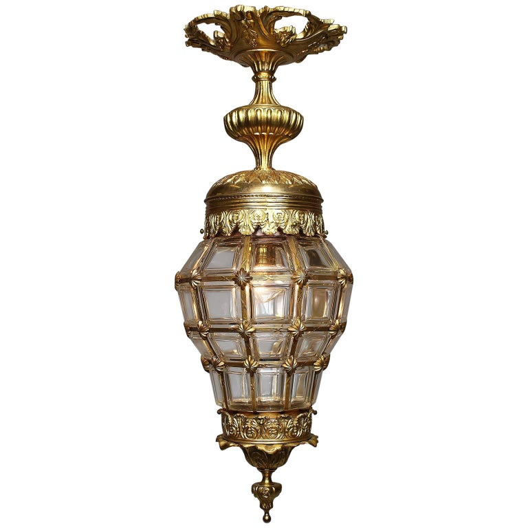 "French Louis XIV Style Early 20th Century Gilt Bronze ""Versailles"" Style Lantern"