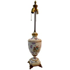 Dresden Lamp with Armorial Crest Motif