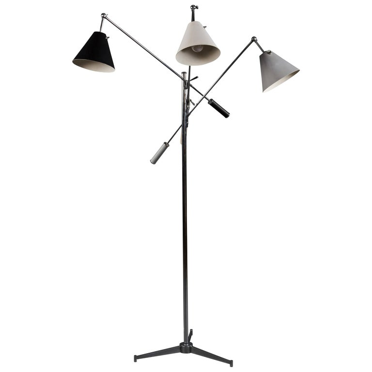 Angelo Lelii Arredoluce Triennale Floor Lamp in Gray, Black and White For Sale