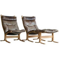 Ingmar Relling Pair of Siesta Chairs for Westnofa Patinated Leather, Norway