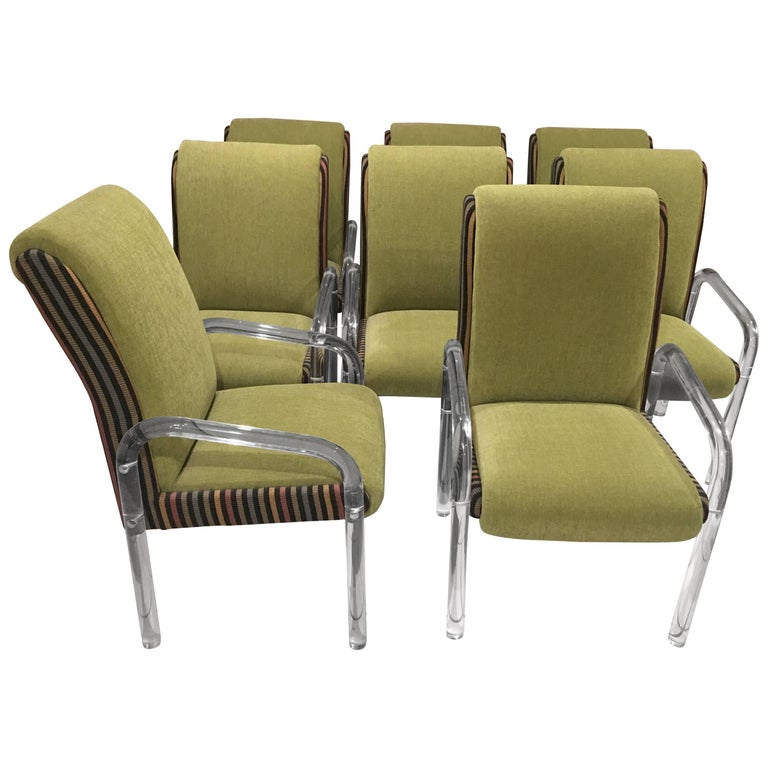 Set of Eight Lucite Dining Armchairs by Leon Pace