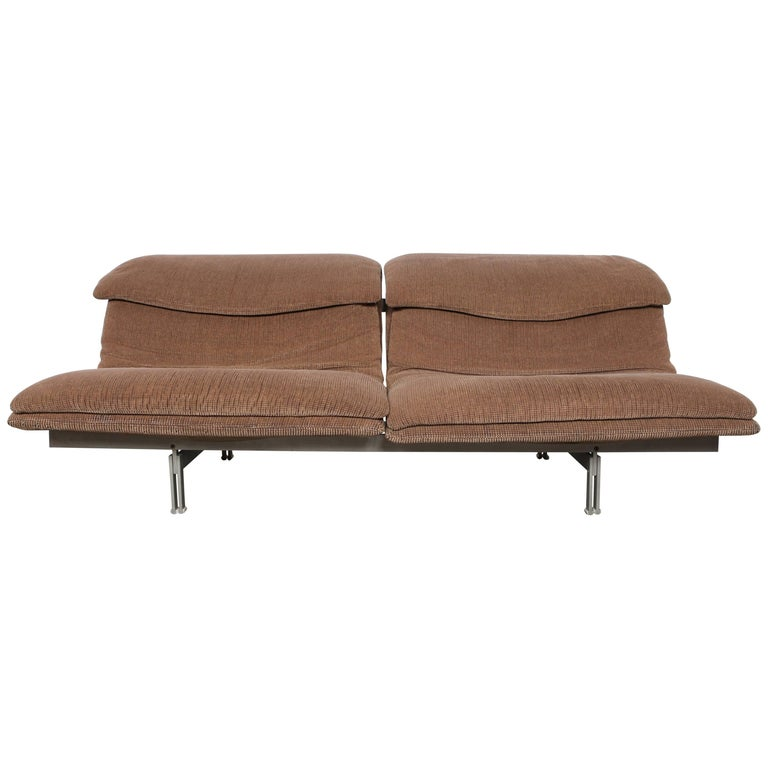 "Italian Metal Framed Two Seater ""Wave"" Sofa by Giovanni Offredi for Saporiti"