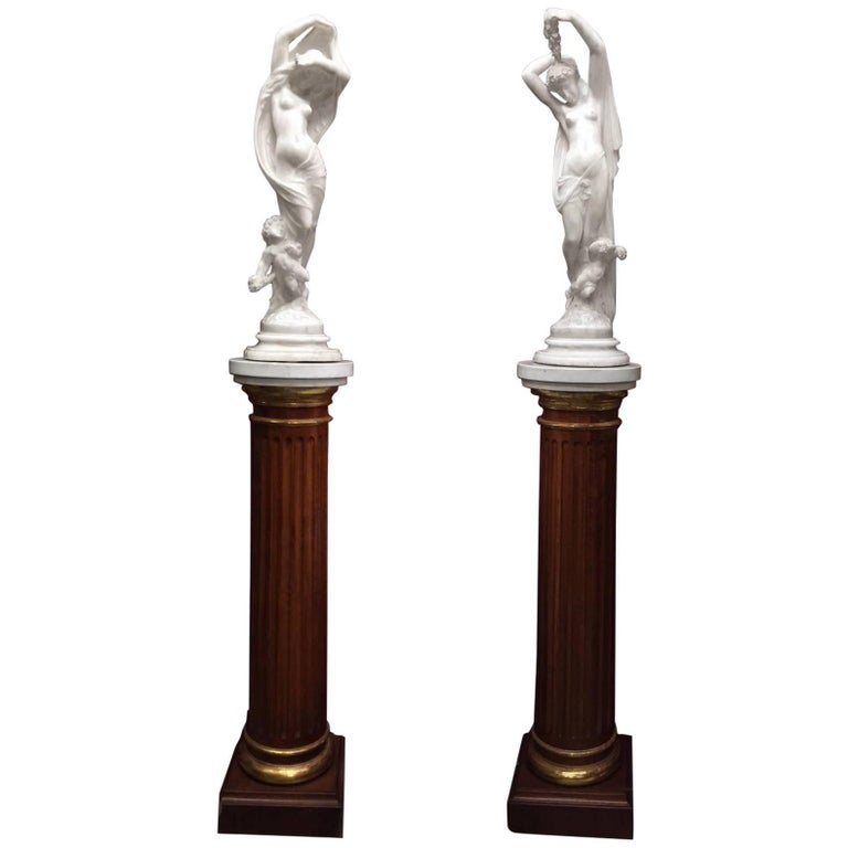Pair of French Marble Figures on Pedestals, Nyx and Hemera