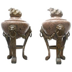 Pair of Grand Antique French Marble Urns