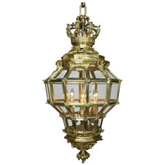 "Palatial French 19th Century Louis XIV Style Gilt Bronze ""Versailles"" Lantern"