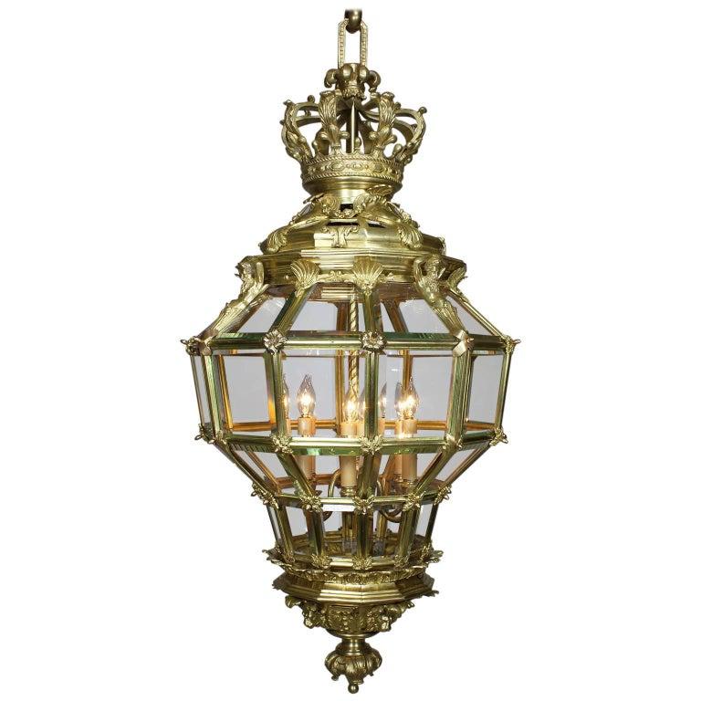 "Palatial French 19th Century Louis XIV Style Gilt Bronze ""Versailles"" Lantern"