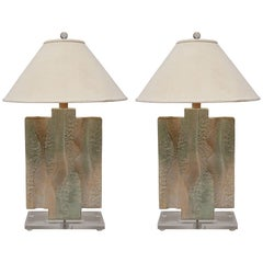 Textured Pastel Colored Table Lamps on a Lucite Base, a Pair