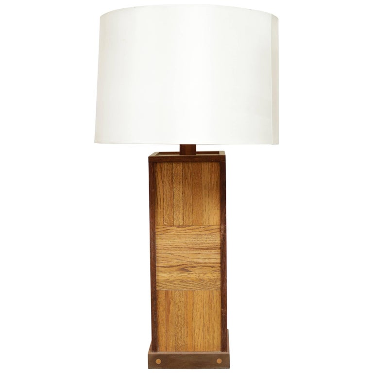 Walnut Parquet Table Lamp For Sale
