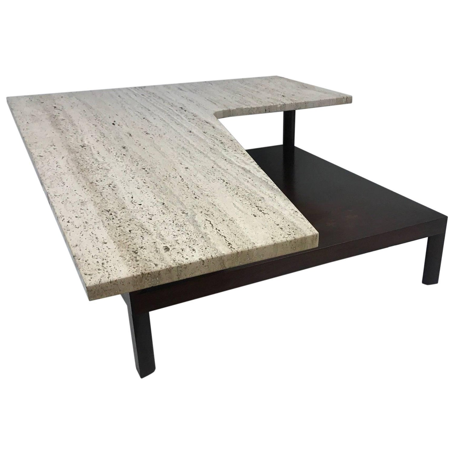 Sleek Mid Century Modern Travertine and Teak Coffee Table For Sale