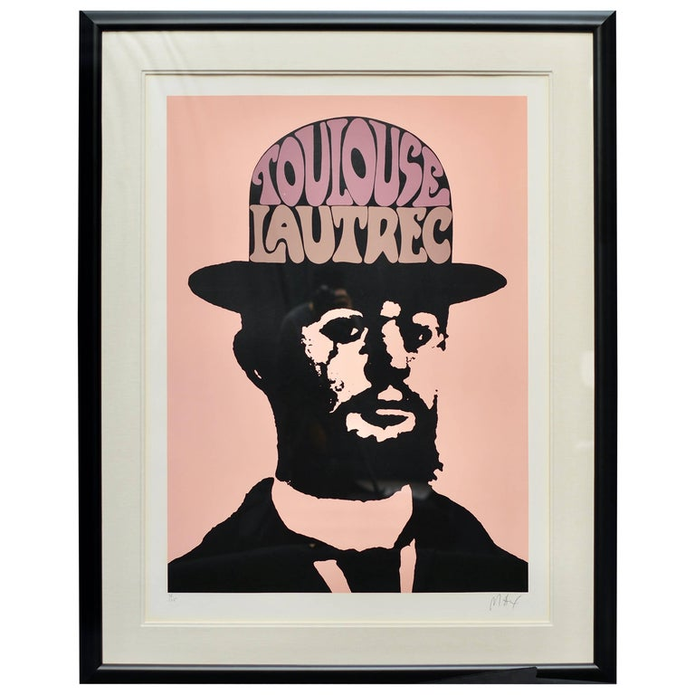 Large Toulouse Lautrec by Peter Max in Peach Pink, Signed and Framed