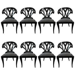 Black Lacquer Dining Chairs by Pietro Costantini, Set of Eight