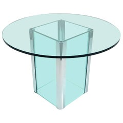 1970s Leon Rosen for Pace Glass and Chrome Foyer Table