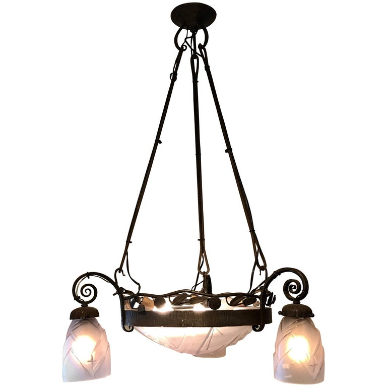 French Art Deco Chandelier For Sale