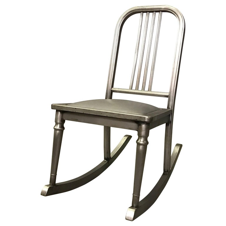 Petite Brushed Steel Rocking Chair by Simmons Sheraton Series For Sale
