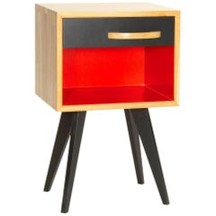 Contemporary Hand-Crafted Nightstand or Side Table in Solid Oak French