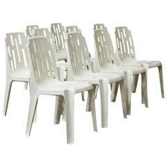 1974, Pierre Paulin, Ten Very Elegant Comfortable Light White Garden Chairs