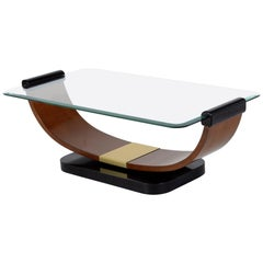 Italian 1940 Coffee Table with Bevelled Glass Top