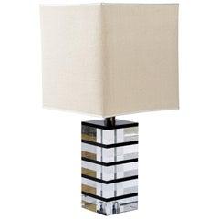 Felice Antonio Botta Midcentury Italian signed Lucite Table Lamp ,1960's -