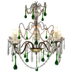 Vintage Italian Five-Light Crystal Chandelier with Green Crystal Drops, 1970s