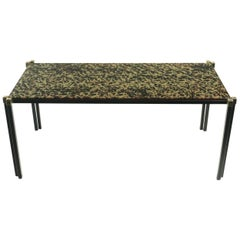 1960s Maison Honore Low Table with Eglomized Glass Plate