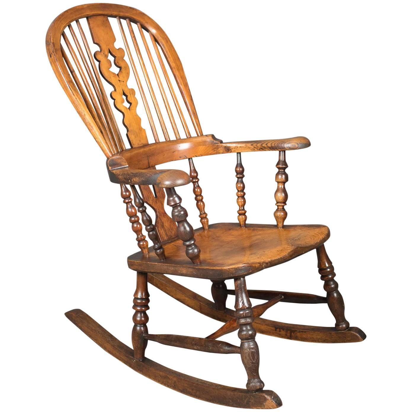 Victorian Antique Windsor Rocking Chair, English Armchair, Yorkshire, Circa  1850