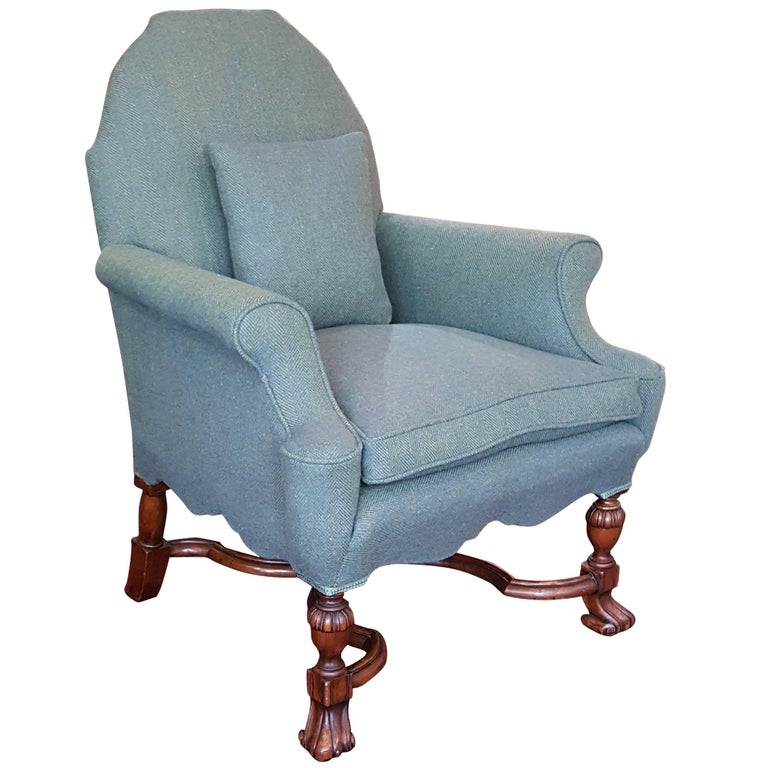 Edwardian Mahogany Armchair Upholstered In Harris Tweed At
