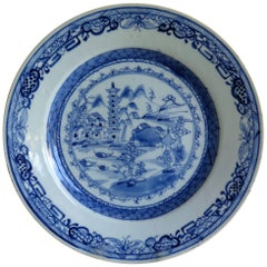 18th Century Chinese Export Blue and White Porcelain Plate, Qing Ca 1780