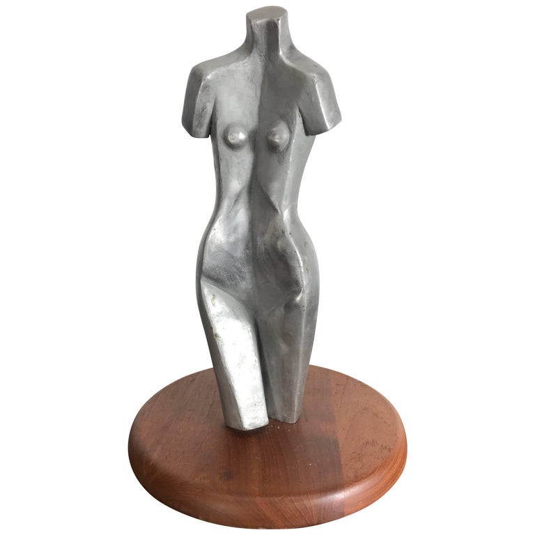 Modernist Cast Aluminum Nude Woman Sculpture Signed AK