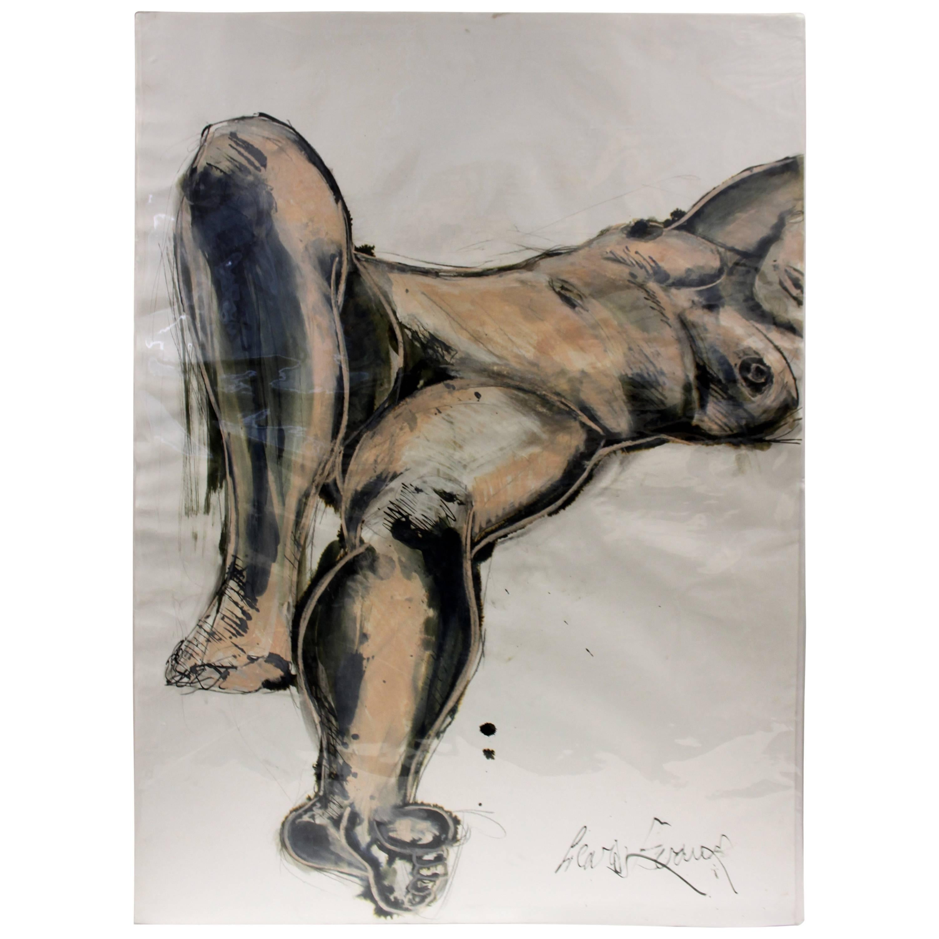 Watercolor and Ink Erotica Scene Painting, Signed by Lewis Evans, circa 1990s