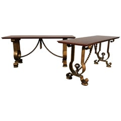 Pair of French Gold Gilt Console Tables Murray's Iron Works G. Poillerat Style