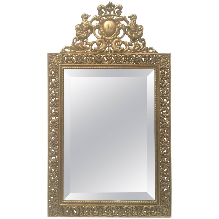Stunning Antique English Brass Vanity Mirror For Sale At
