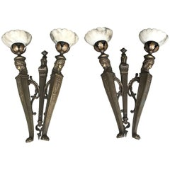 Near Antique Pair of Egyptian Revival Bronze Wall Sconces with Alabaster Shades