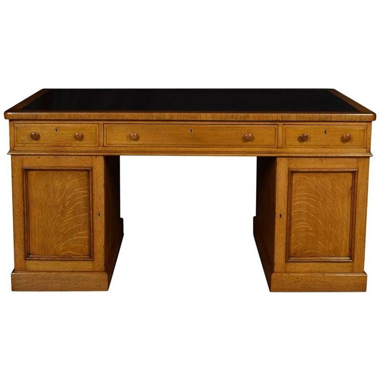 Substantial Victorian Oak Partners Desk