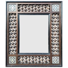 Antique Moorish Picture Frame Inlaid, Arab Motifs in Bone and Mother-of-Pearl