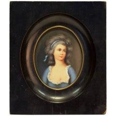 Antique Miniature Portrait on Porcelain in Wooden Frame, France, circa 1830s