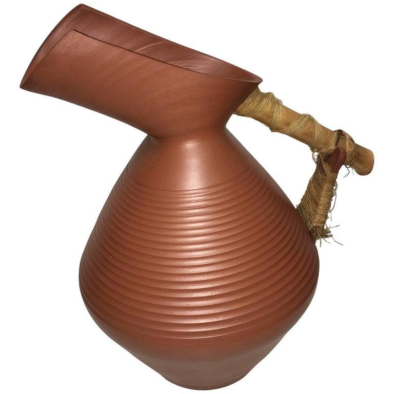 Studio Art Handmade Pottery Terracotta Jug Vase, 1950s For Sale
