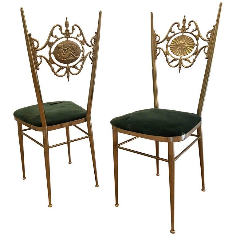 Italian Chiavari Neoclassical Chairs in Brass, circa 1950