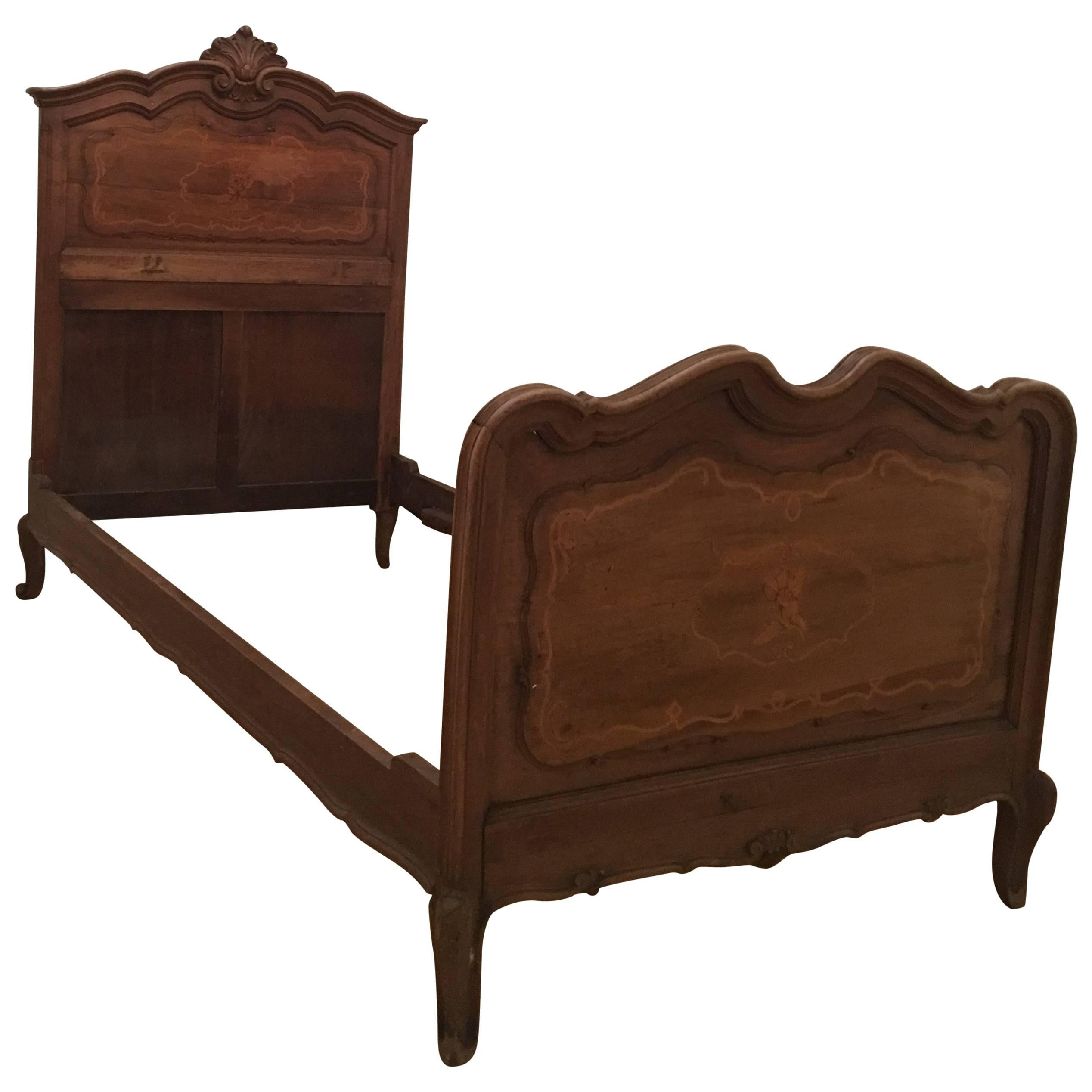 pair of italian marquetry inlaid solid carved walnut single beds 1