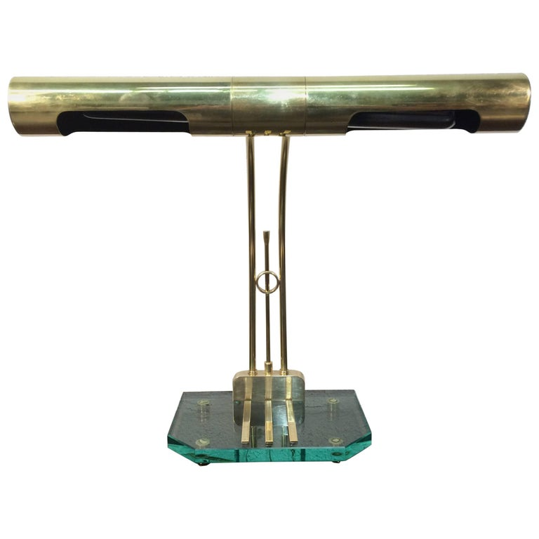 Designer Table Lamp, Brass and Glass