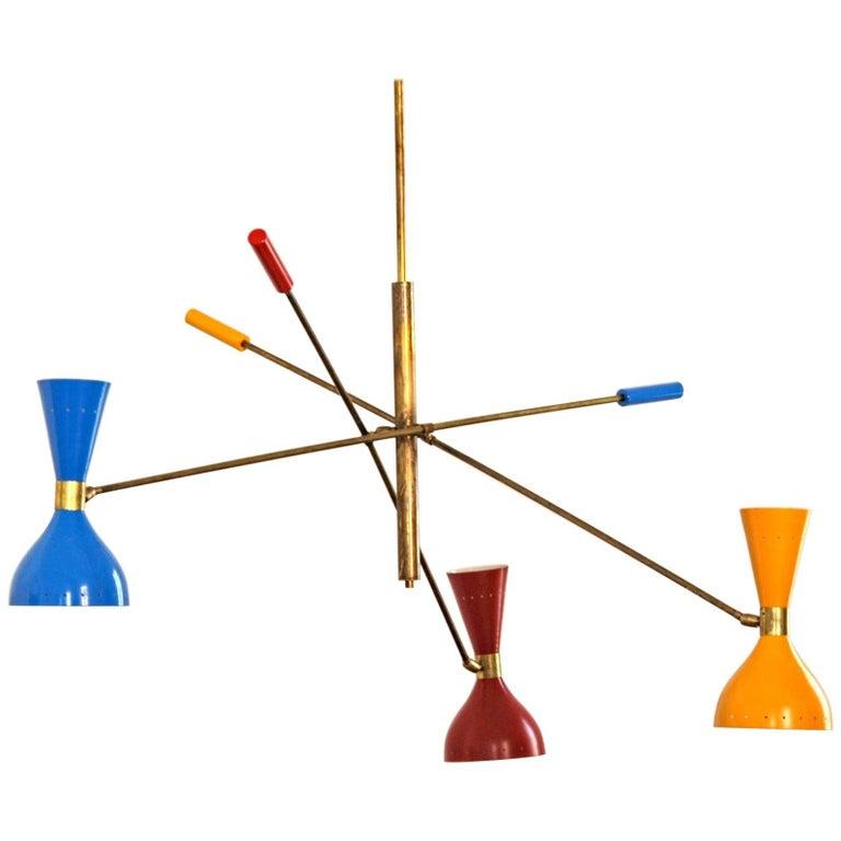 Flamboyant Adjustable Three-Arm 'Triennale' Style Chandelier, Brass Patinated