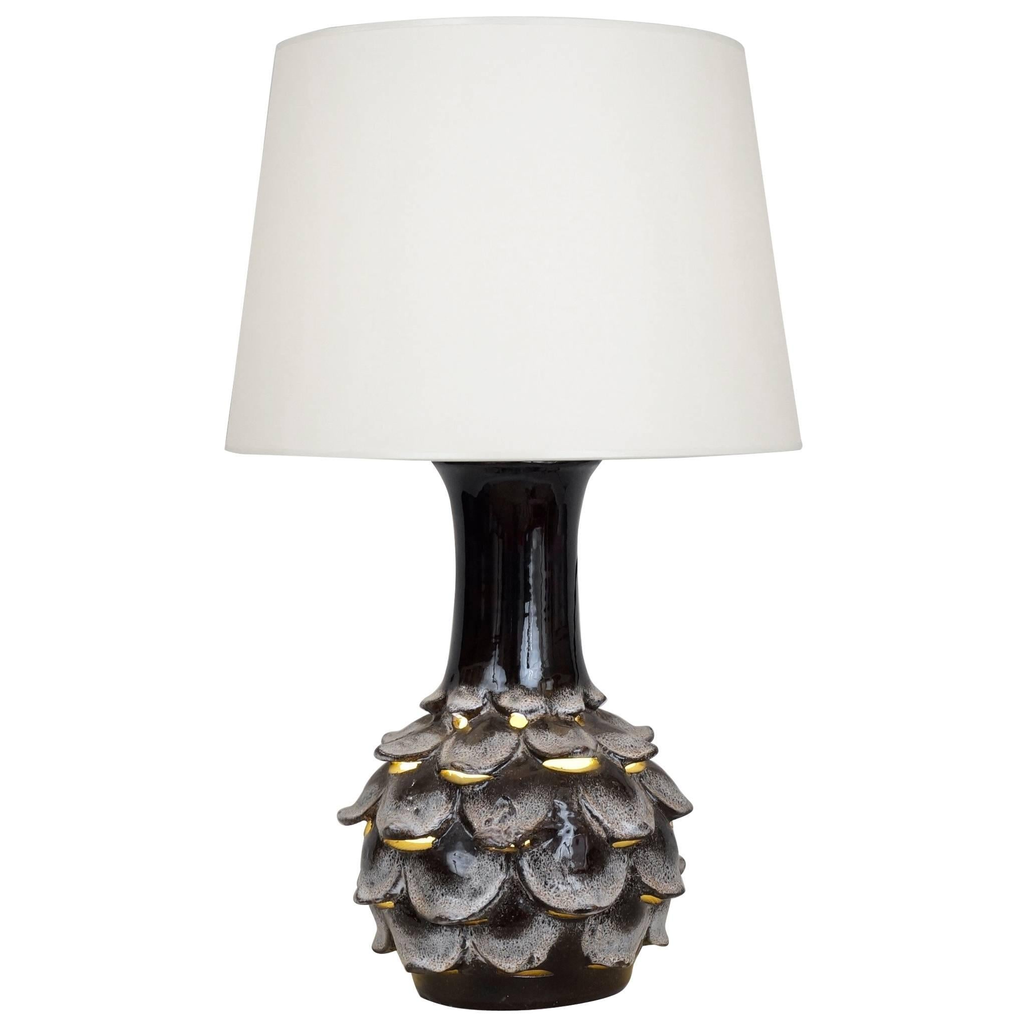 1970 Ceramic Artichoke Table Lamp