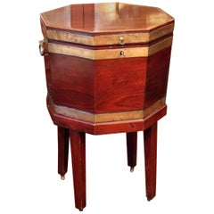 Antique George III English Mahogany Wine Cooler Cellarette, Late 18th Century