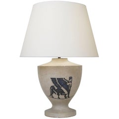 1940 Stone Engraved Table Lamp