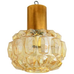 Helena Tynell for Limburg Amber Bubble Glass and Brass Pendant Lamp, 1960s