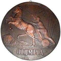 Olympia Plaque Advertising Art Deco Chariot Gladiator