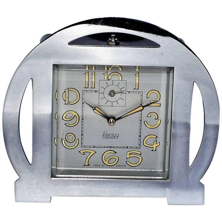1930s Art Deco Blangy Chrome Clock For Sale
