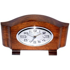 French Art Deco Wooden Case Clock by Dep